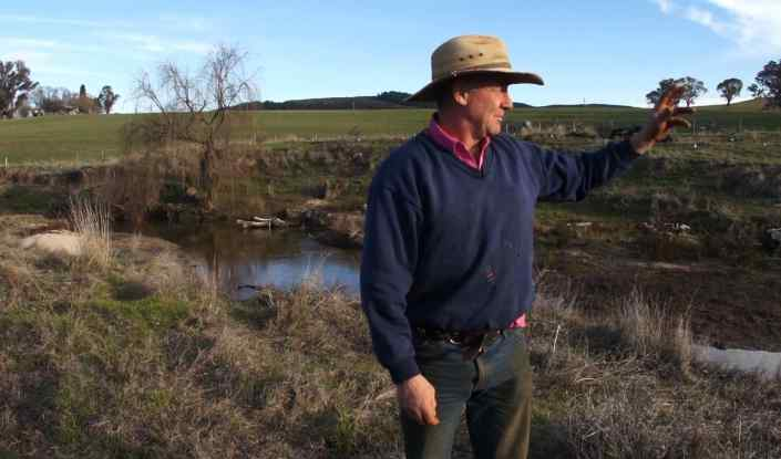 Paul Graham near his restored creeklines. Photo by Natasha Fijn.