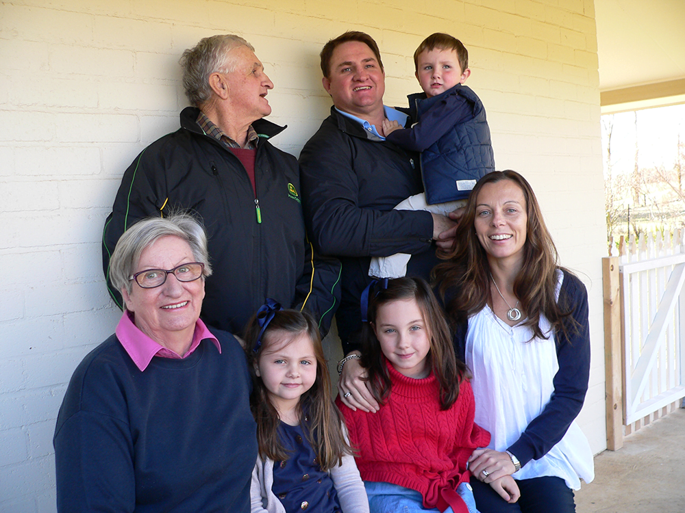 Three generations of the McCormack family live at Red Hill, near Crookwell, which was settled in 1863. Back: Tom, James and Finn McCormack. Front: Perry, Marnie, Tara and Natasha McCormack.